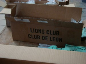Just one of the many boxes of eye glasses that were donated by the Lions Club for Continuing Promise '09.