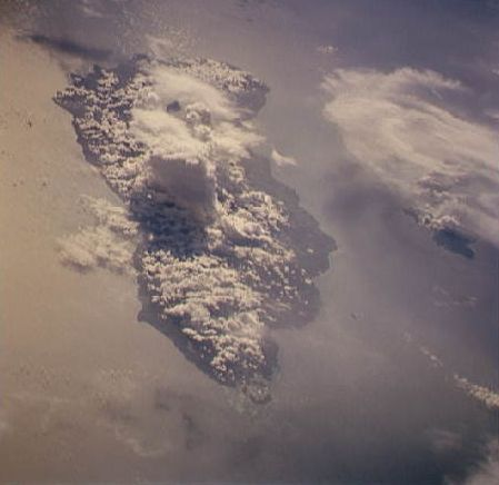 """Guadacanal Island as seen from STS-59 (Image Science and Analysis Laboratory, NASA-Johnson Space Center. """"The Gateway to Astronaut Photography of Earth."""")"""