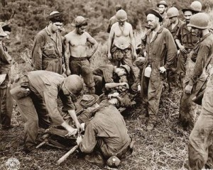 This is a photograph of an American Soldier injured in the Battle of Guadalcanal