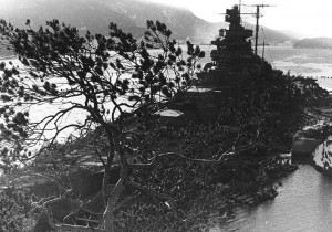Tirpitz camouflaged at anchor
