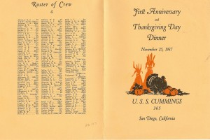 Cover and Crew Roster - First Anniversary and Thanksgiving Day Dinner, USS Cummings DD-365, November 25, 1937.