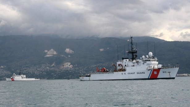 Two Coast Guard 270-foot cutters sit offshore of Haiti, ready to provide humanitarian aid, 1/13/10