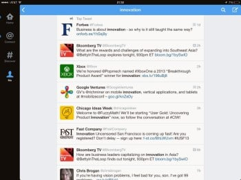 Search for #Innovation on Twitter for iPad