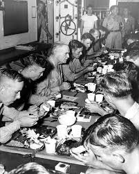 Halsey dining with the crew of USS New Jersey