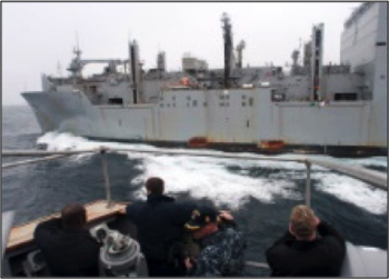 Figure 2USS FORD coming alongside USNS CARL BRASHEAR for RAS