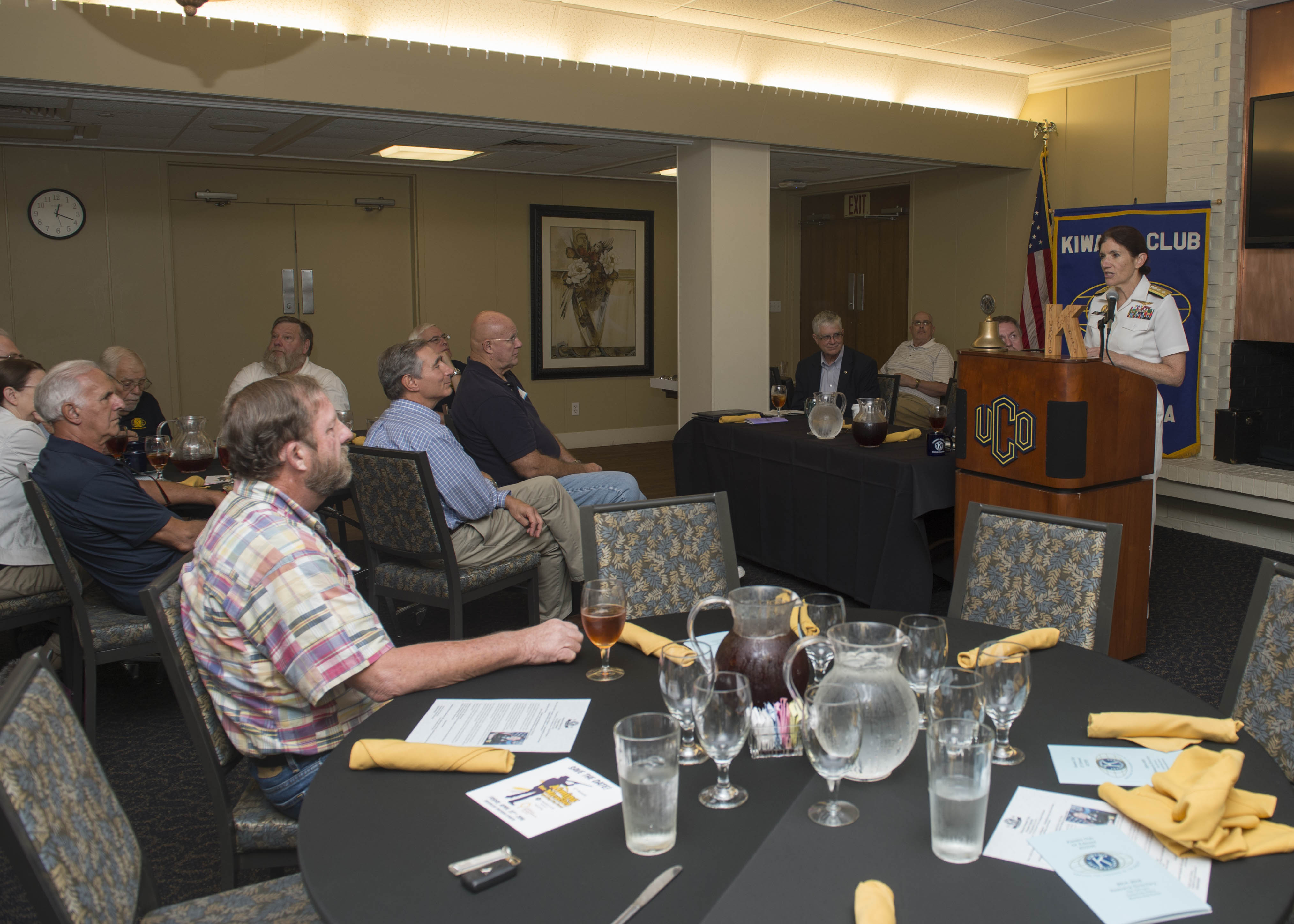 U.S. Navy: Rear Adm. Peg Klein, senior advisor to the Secretary of Defense for military professionalism, speaks with members of the Edmond Kiwanis Club. (U.S. Navy photo by Mass Communication Specialist 3rd Class James Vazquez/Released)