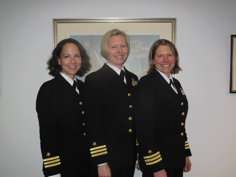 The author, left, with two of her sea sisters in Newport, RI in April.