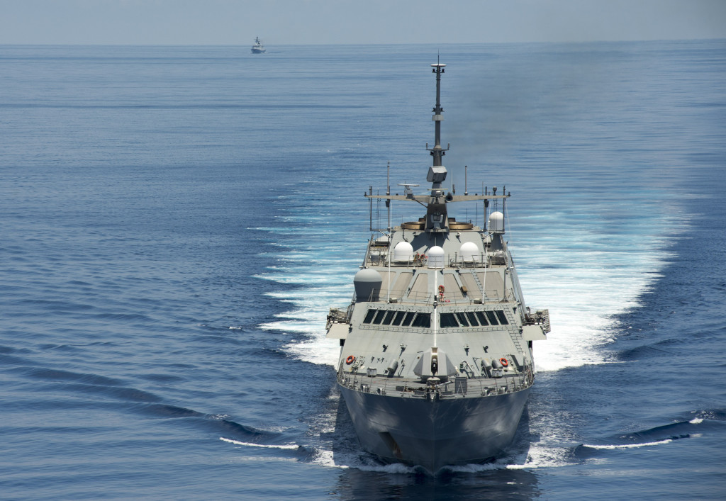 150511-N-VO234-286 SOUTH CHINA SEA (May 11, 2015) The littoral combat ship USS Fort Worth (LCS 3) conducts patrols in international waters of the South China Sea near the Spratly Islands as the People's Liberation Army-Navy [PLA(N)] guided-missile frigate Yancheng (FFG 546) transits close behind. (U.S. Navy photo)