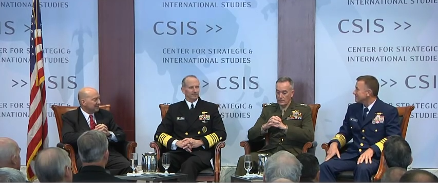 General Joseph F. Dunford, Jr. USMC Commandant of the Marine Corps  Admiral Jonathan W. Greenert, USN Chief of Naval Operations  Admiral Paul F. Zukunft, USCG Commandant of the Coast Guard  Moderated by:  Admiral James Stavridis, USN (Ret.) Chair of the Board of Directors, U.S. Naval Institute