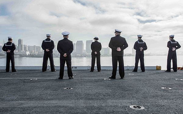 160120-N-ZA585-052  SAN DIEGO (Jan. 20, 2016) Sailors man the rails on USS John C. Stennis' (CVN 74) flight deck as it gets underway for a regularly scheduled deployment. Providing a combat-ready force to protect collective maritime interests, Stennis as part of the great green fleet is operating in the U.S. 3rd Fleet area of operations on a Western Pacific deployment. (U.S. Navy photo by Mass Communication Specialist 2nd Class Patrick Enright/Released)