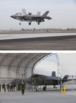 Day one was with VMFA-121 and its F-35B Joint Strike Fighters––here, in hover and in the hangar with ground crew.