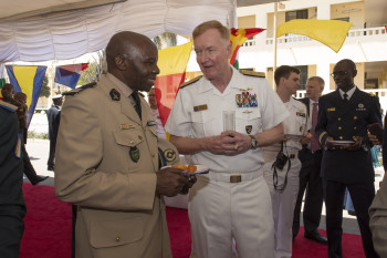 Commander, U.S. 6th Fleet, Vice Adm. James Foggo, III attends a reception after the opening ceremony for OE/SE 2016. (U.S. Navy photo by Mass Communication Specialist 3rd Class Weston Jones).