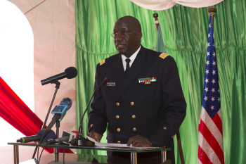Head of the Senegalese Navy, Rear Adm. Cheikh Cissokho speaks at the opening ceremony for OE/SE 2016. (U.S. Navy photo by Mass Communication Specialist 3rd Class Weston Jones).