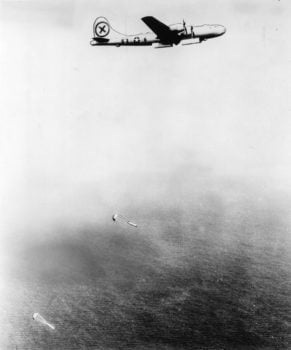 B-29 Superfortress dropping mines in a Japanese harbor in World War II. Naval Institute photo archive