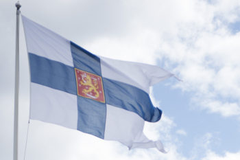 Finnish Military Flag flying over Syndalen, Finland. (U.S. Navy /Mass communication Specialist Seaman Alyssa Weeks photo