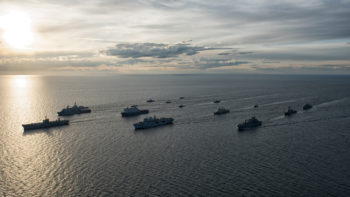 16 ships from 9 nations (Denmark, Finland, Germany, Lithuania, Netherlands, Spain, Sweden, United Kingdom, and the United States.) maneuvered in close formation for a surface ship Photo Exercise, 9 June 2016