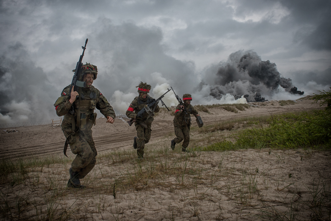 Polish Marines acting as the opposition force lay down smoke and flee the beach as U.S. AAVs come ashore during the amphibious landing and DV Day in Ustka, Poland, 16 June 2016
