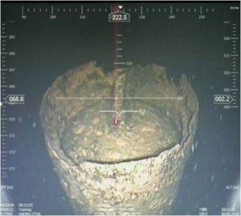 Suspected WWII Bottom Mine found south of Uto, Sweden, by Royal Norwegian Navy minesweeper HNOMS Otra (M351) during BALTOPS 2016