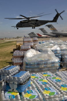 U.S. aircraft deliver relief supplies to the airport in Port-au-Prince, Haiti in January 2010. UN Photo/Logan Abassi