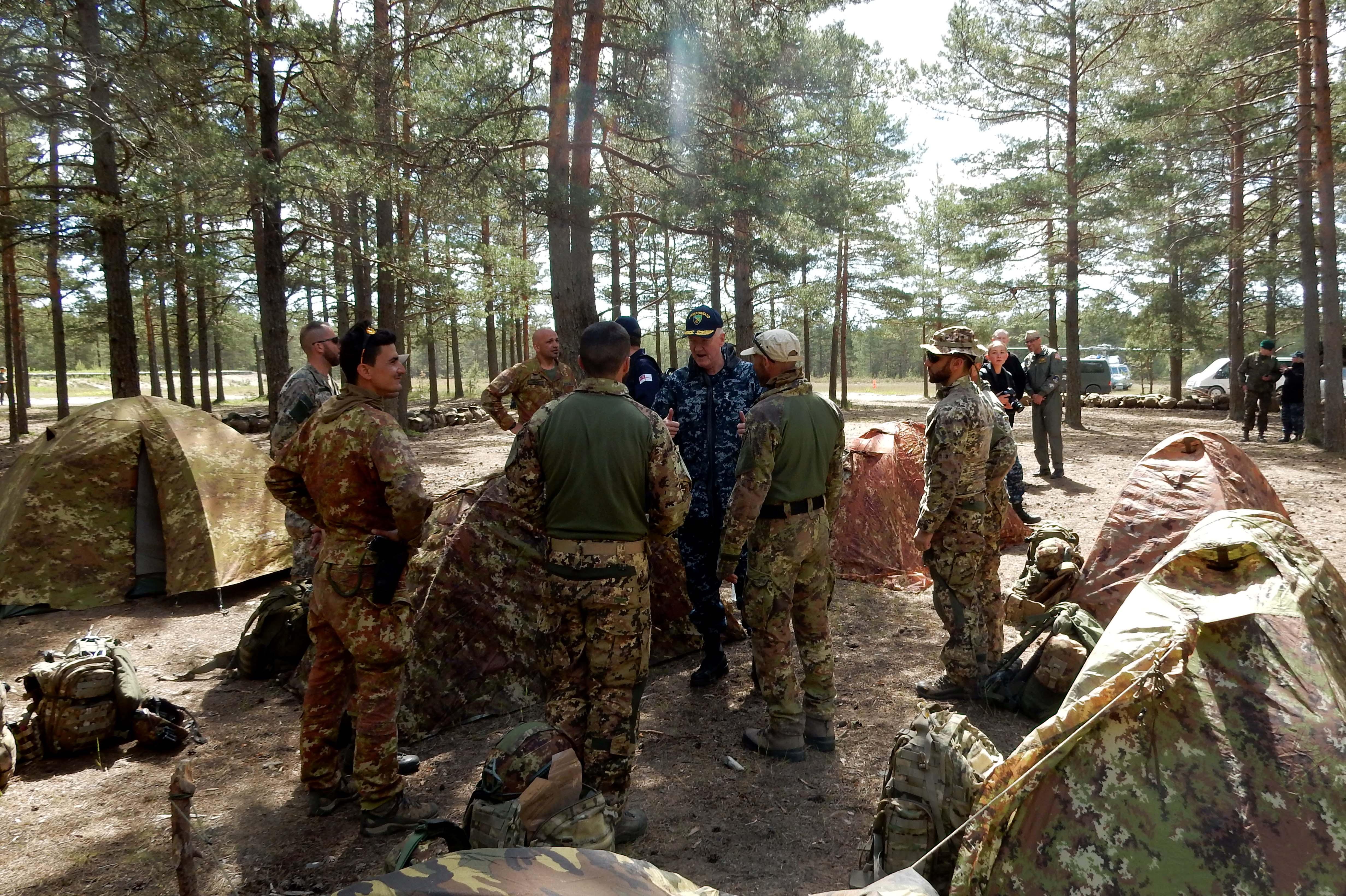 Vice Adm. Foggo speaks with Italian Marines training in Finland during BALTOPS 2016. U.S. Navy/Mass Communication Specialist Seaman Alyssa Weeks photo