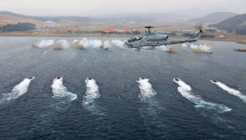 Republic of Korea Marines with 7th Marine Regiment participate in a mock amphibious landing during exercise Ssang Yong 2014 on March 29, 2014.