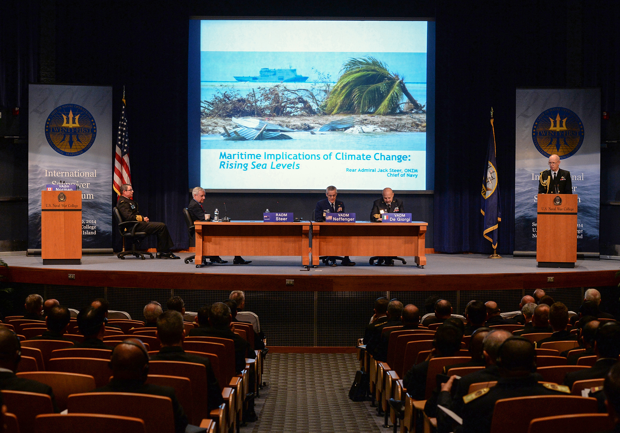 """Maritime Implications of Climate Change"" discussion panel during the Chief of Naval Operations' 21st International Seapower Symposium at the U.S. Navy War College in Newport, R.I."