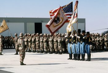 An Army Color Guard in Saudi Arabia during Operation Desert Storm, 1991. U.S. Naval Institute photo