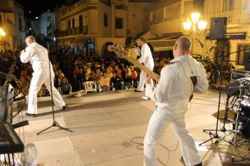 Sailors assigned to The U.S. Naval Forces Europe Band perform at a cultural celebration in Panza, Ischia Sept. 27, 2015. (U.S. Navy photo by Musician 3rd Class by Marco Di Rienzo)