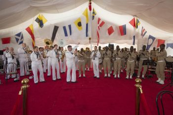 The U.S. Naval Forces Europe Band and the Musique Principale des Forces Armées Sénégalaises play together during the opening ceremony for exercise Obangame/Saharan Express 2016 in Dakar, Senegal, March 16, 2016. . (U.S. Navy photo by Mass Communication Specialist 3rd Class Weston Jones)