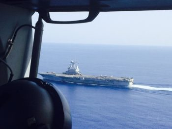 The nuclear aircraft carrier FS Charles de Gaulle (R91), as observed from a French Dauphin helicopter. (Personal photo courtesy of Vice Adm. James Foggo III)