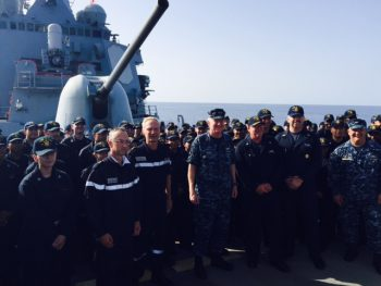 French and US leadership and Sailors aboard the USS Ross (DDG 71), Oct. 13, 2016. Ross is providing multi-warfare defense support to FS Charles de Gaulle (R91) in support of Operation Inherent Resolve. (Personal photo courtesy of Vice Adm. James Foggo III)