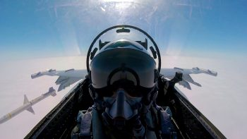 "Cockpit view of an Australian EA-18G Growler off the West Coast of California, Pacific Ocean, August, 2016. Courtesy FLTLT Todd ""Woody"" Woodford."