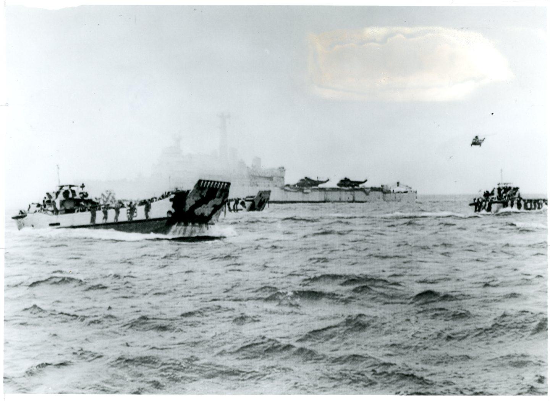 The Landings at San Carlos, The Falklands, 1982. Credit: Royal Navy